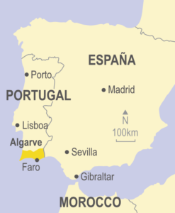 Map showing the Algarve in relation to Portugal and Spain