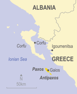 Map showing Paxos and Antipaxos, Greece
