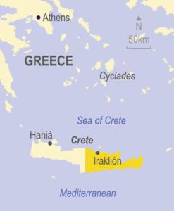 Map showing eastern Crete in Greece