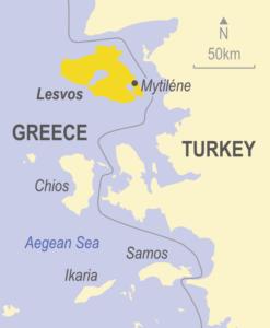 Map of Lesvos, Greece
