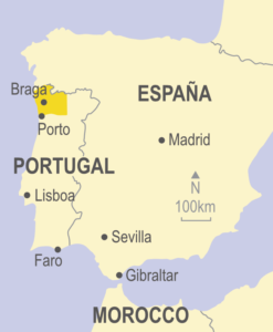 Map showing northern Portugal and Spain