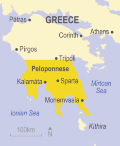 Map of the Peloponnese, Greece