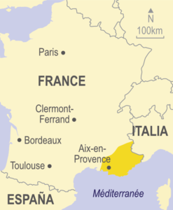 Map of the Provence region in France