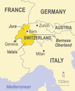 Map showing western Switzerland, Jura and Valais